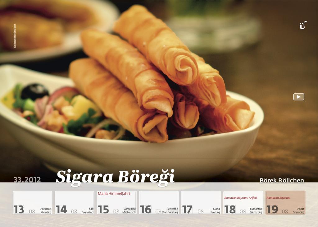 Wochen kalender 2012 54 t rkische rezepte der for Turkische kuchenutensilien