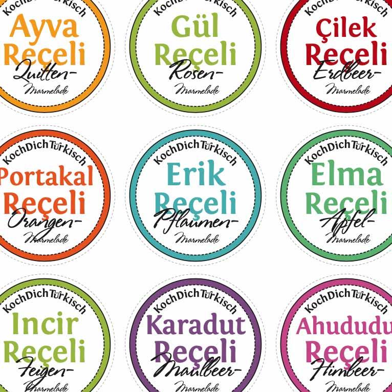 Deutsch-Türkische Etiketten für Marmeladen zum bekleben Eurer Gläser