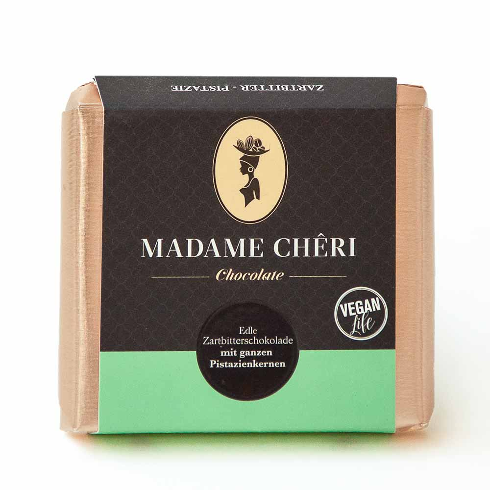 Madame Chêri Zartbitterschokolade mit Pistazien