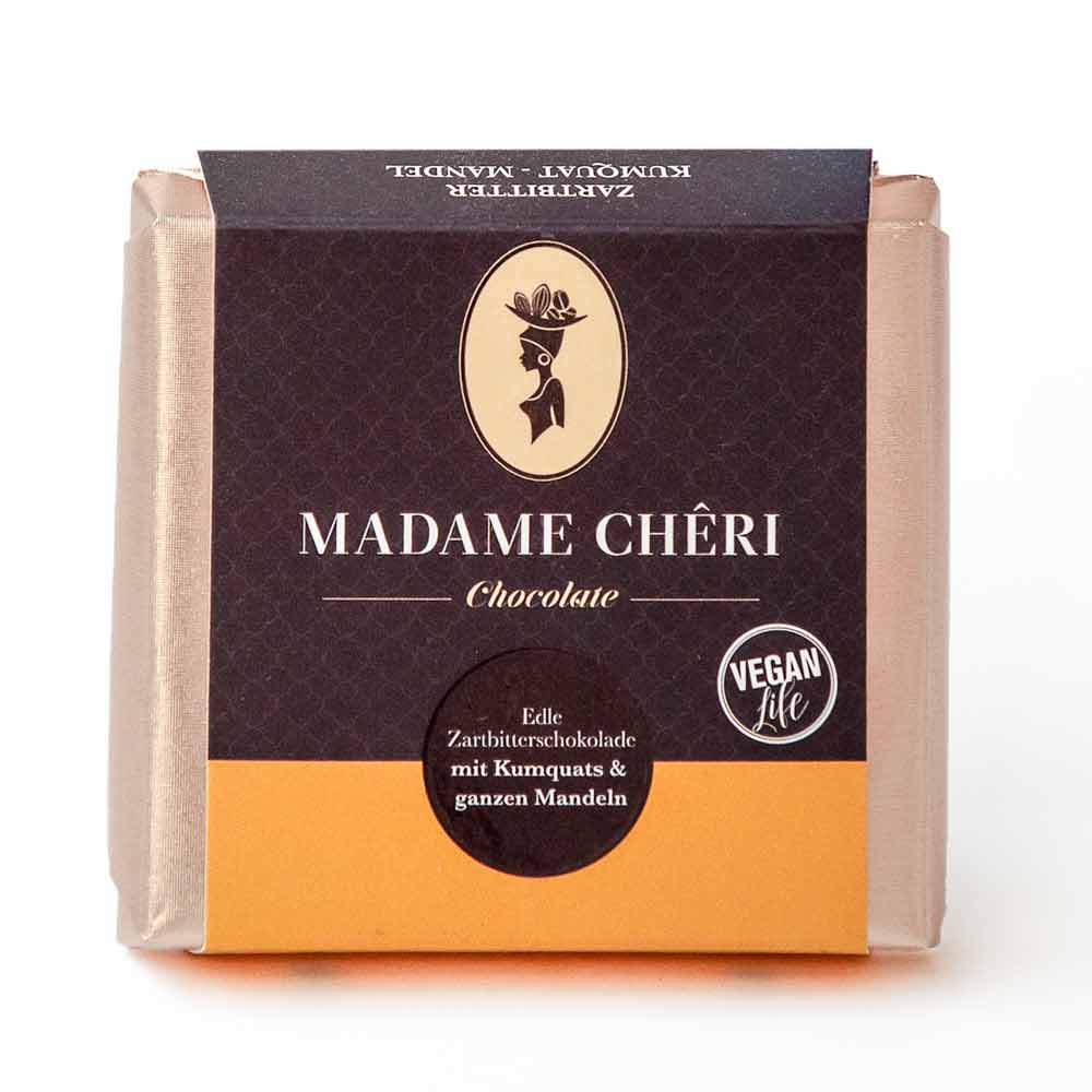 Madame Chêri Zartbitter Kumquats mit ganzen Mandeln