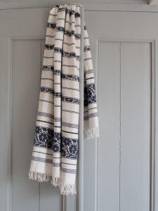 Ottomania hammam towel with Flower Patterns Navy Blue 1505 1