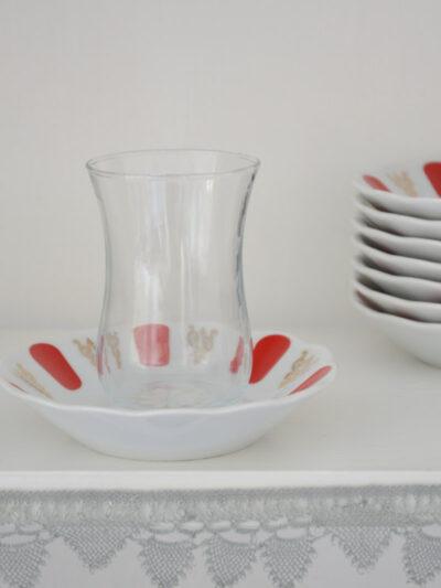 Türkische porzellan Untertassen für Tee, rot, blau, weiß, Turkish saucer for tea glass red blue white