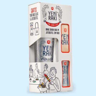 Yeni Rakı - BBQ Geschenkset mit Rakı Glas und Jute-Beutel