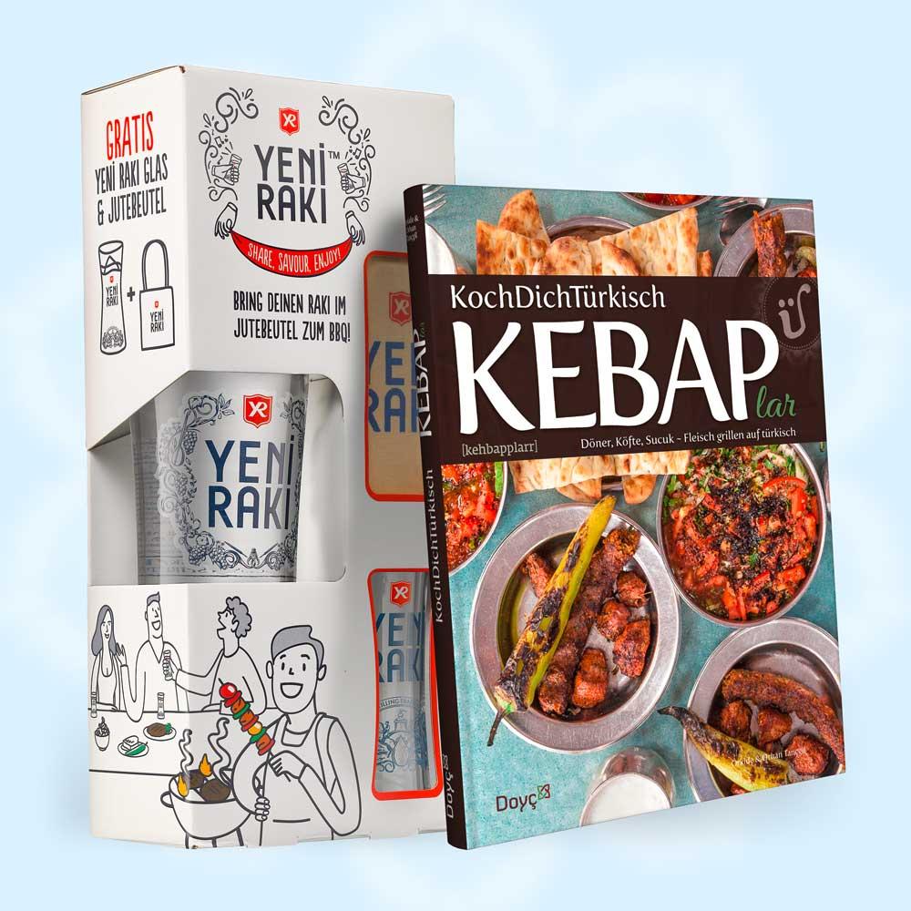 Kebap-Kochbuch & Yeni Rakı - BBQ Geschenkset mit Rakı-Glas und Jute-Beutel