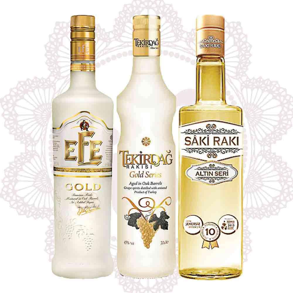 Gold Rakı Sparpaket ~ Efe Rakı, Tekirdağ, Sâki Rakı 3x 0,7l