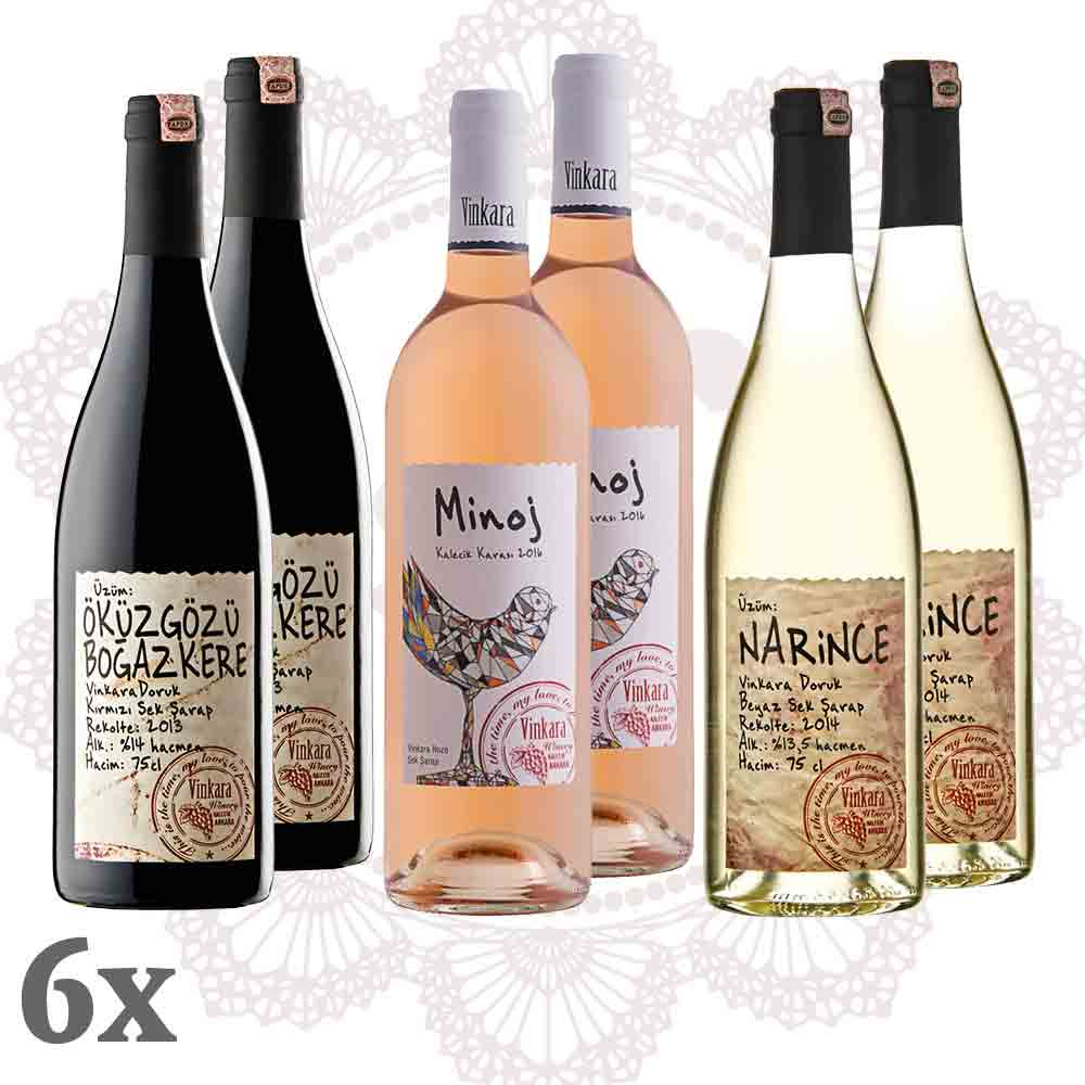 VINKARA ~ Rot-Weiß-Rosé 6er-Pack ~ Sparpaket Wein