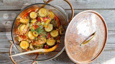 Zeytinyağlı kabak bastı ~ Zucchini mit Bulgur in Olivenöl