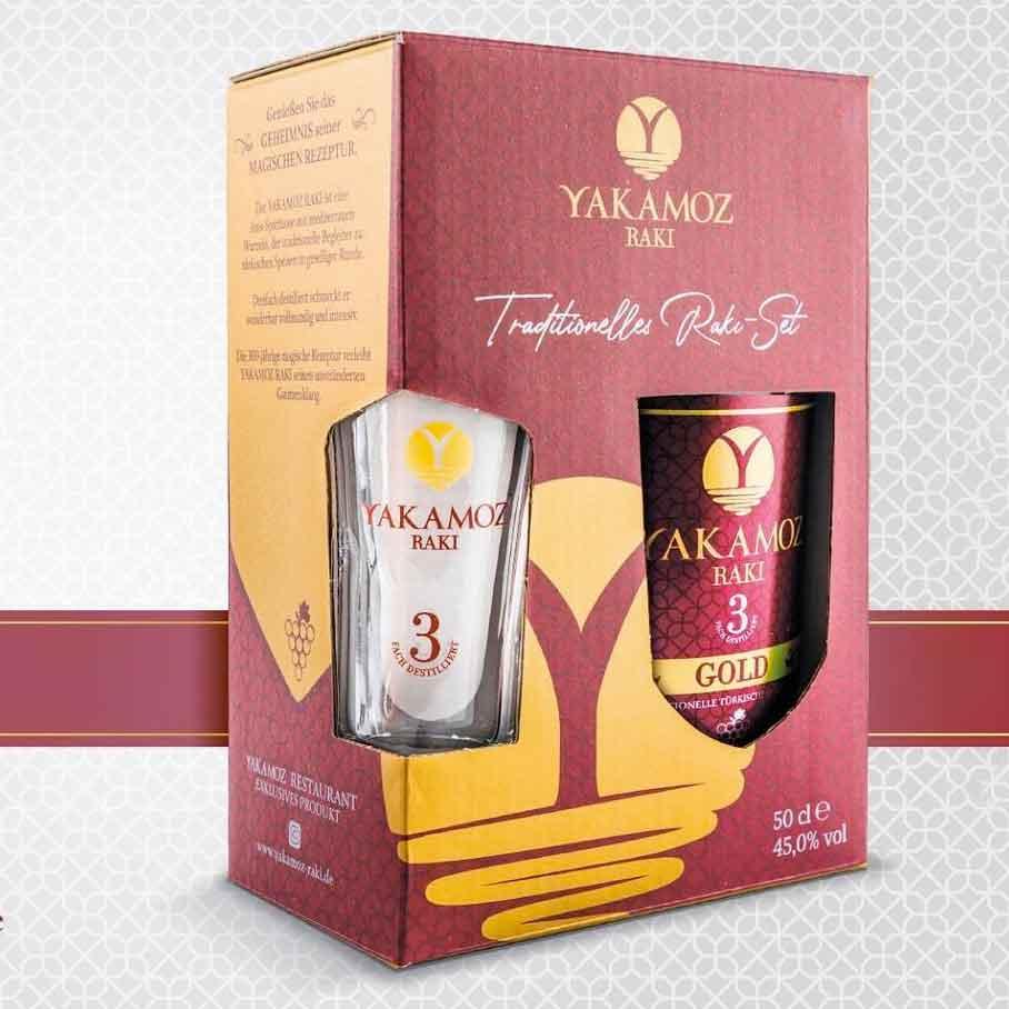 Yakamoz Rakı ~ Geschenkpackung + 1 Raki-Glas ~ 3-fach destilliert