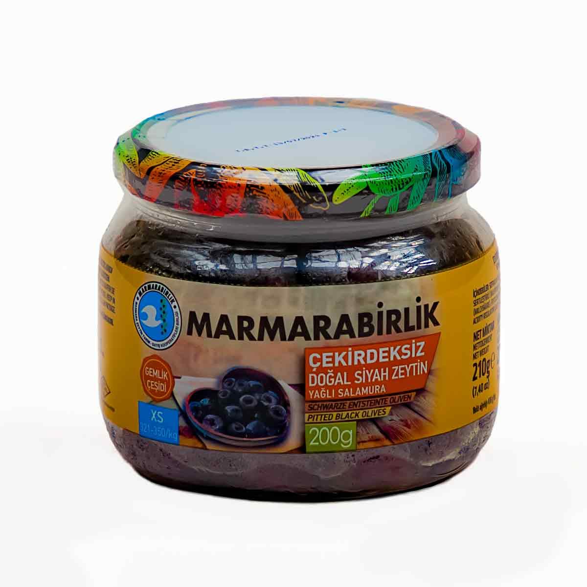 MARMARABIRLIK ~ Çekirdeksiz doğal siyah zeytin ~ Schwarze entsteinte Oliven 200g