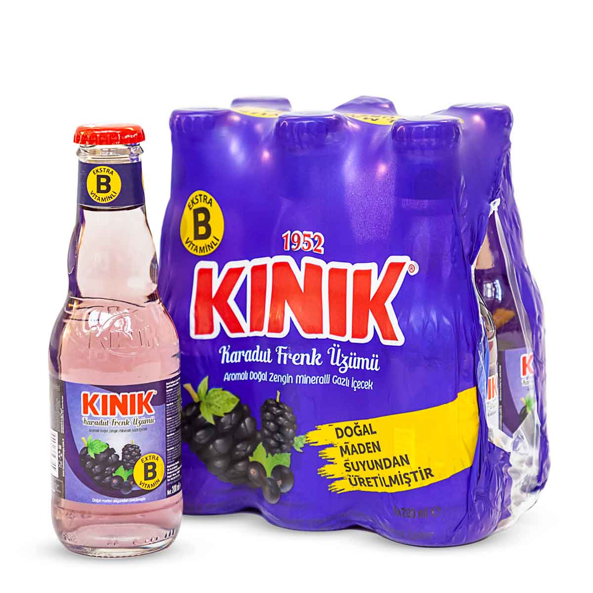 KINIK 1952 ~ Karadut-Frenk üzüm gazoz ~ Schwarzes Maulbeer-Johannisbeer-Soda